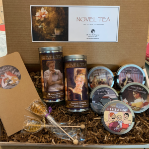 Healthy Customizable Specialty Blend Novel Tea Tall Tins, Little Women, Pride and Prejudice, Sense and Sensibility, The Great Gatsby, and Moby Dick Mini Tin Classics, 2 Honeycomb Lollipop Tea Sweetener Stirrers, and 1 Notebook Novel Tea Care Package Gift Box Set