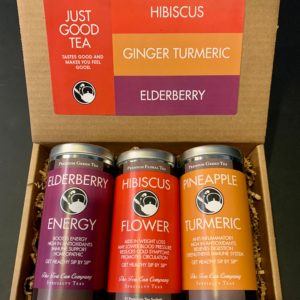 Healthy Elderberry Energy, Hibiscus Flower, and Pineapple Turmeric Just Good Tea Care Package for Mother's Day, Father's Day, Summer, College, Birthdays, and Holidays
