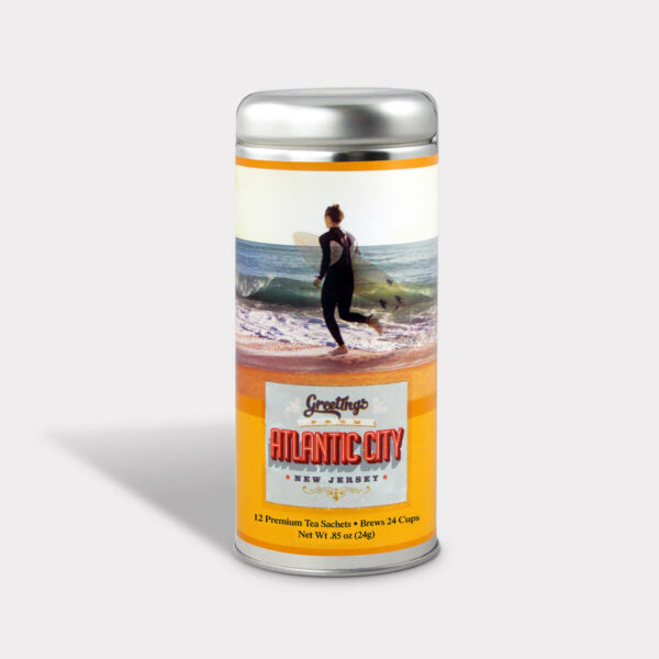 Customizable Private Label Healthy Greetings from Atlantic City New Jersey Surfer Travel Souvenir Tea in an Easy-Open Silver Tall Tin with 12 Pyramid Tea Sachets in a flavor of your choice