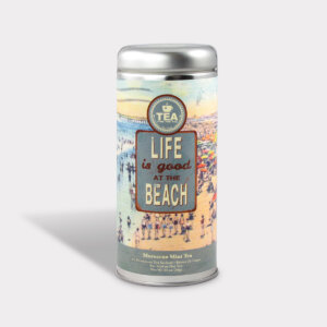 Customizable Private Label Healthy Life Is Good at the Beach Moroccan Mint Travel Souvenir Tea in an Easy-Open Silver Tall Tin with 12 Pyramid Tea Sachets in a flavor of your choice