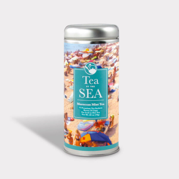 Customizable Private Label Healthy Tea By the Sea Moroccan Mint Travel Souvenir Tea in an Easy-Open Silver Tall Tin with 12 Pyramid Tea Sachets in a flavor of your choice