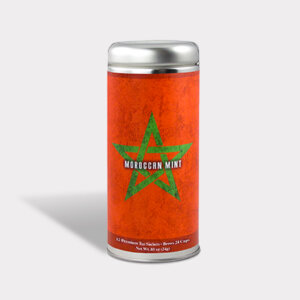 Customizable Private Label Healthy Internationality Morocco Travel Souvenir Tea in an Easy-Open Silver Tall Tin with 12 Pyramid Tea Sachets in a flavor of your choice