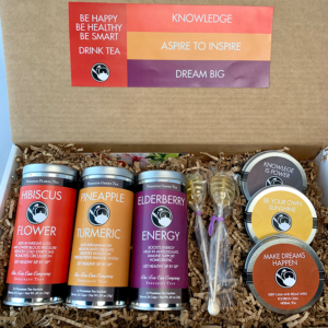 Refreshing and Healthy Knowledge is Power Hibiscus Flower, Pineapple, Turmeric, and Elderberry Energy Tall Tin Tea Care Package Gift Set with 3 mini tins, 2 honeycomb tea lollipop stirrers, and 1 bookmark for Moter's Day, Valentine's Day, College, Spring, and other Holidays