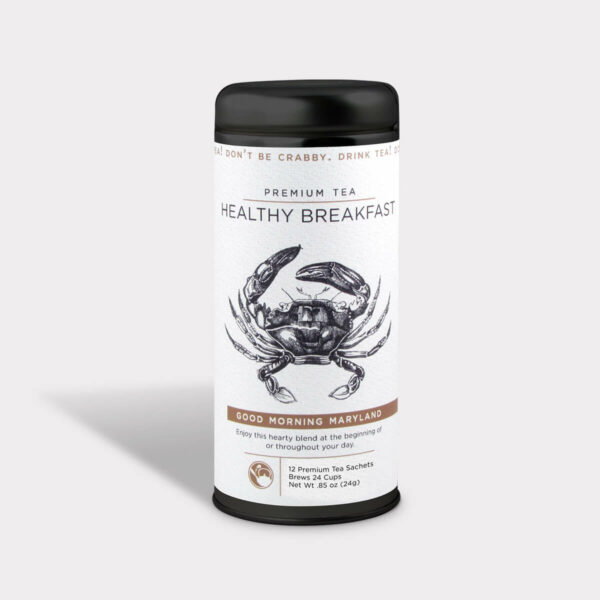 Customizable Private Label Healthy Good Morning Maryland Travel Souvenir Tea in an Easy-Open Silver Tall Tin with 12 Pyramid Tea Sachets in a flavor of your choice