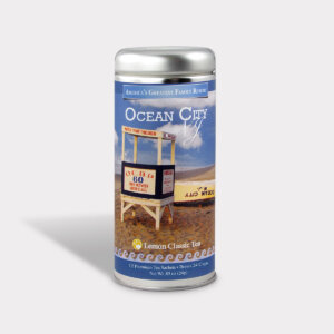 Customizable Private Label Healthy Ocean City New Jersey Beach Resort Travel Souvenir Tea in an Easy-Open Silver Tall Tin with 12 Pyramid Tea Sachets in a flavor of your choice