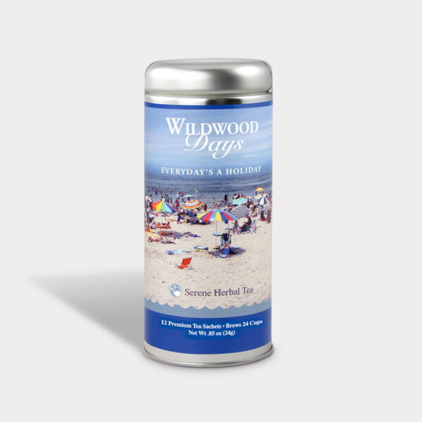 Customizable Private Label Healthy Wildwood Everyday's a Holiday Travel Souvenir Tea in an Easy-Open Silver Tall Tin with 12 Pyramid Tea Sachets in a flavor of your choice