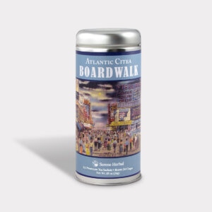 Customizable Private Label Healthy Internationality Atlantic City Boardwalk Travel Souvenir Tea in an Easy-Open Silver Tall Tin with 12 Pyramid Tea Sachets in a flavor of your choice