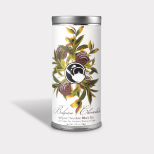 Rich and Decadent Belgian Chocolate Black Tea Gift in an Easy-Open Silver Tall Tin with 12 Pyramid Tea Sachets