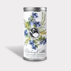 Healthy and Fruity Blueberry Rooibos Herbal Tea Gift in an Easy-Open Silver Tall Tin with 12 Pyramid Tea Sachets