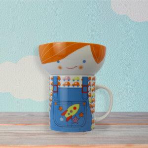 Cute Orange Hairs Boy in Overalls Ceramic Mug and Bowl Set for Children