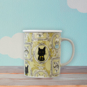 Cute Yellow Cat Portraits Ceramic Tea Mug with Lid