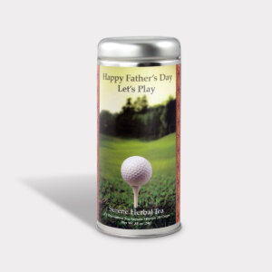 Customizable Golf Tea Gift in an Easy-Open Silver Tall Tin with 12 Pyramid Tea Sachets for Father's Day, Valentine's Day, and Birthdays