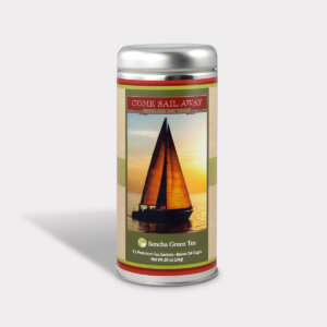 Customizable Sailing Tea Gift in an Easy-Open Silver Tall Tin with 12 Pyramid Tea Sachets for Father's Day, Valentine's Day, and Birthdays