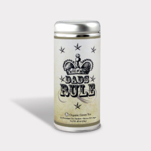 Customizable Dads Rule Healthy Specialty Blend Tea Gift in an Easy-Open Silver Tall Tin with 12 Pyramid Tea Sachets for Father's Day, Valentine's Day, and Birthdays