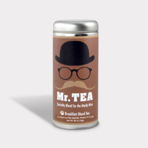 Customizable Specialty Blend Healthy Mr. Tea Breakfast Blend Tea Gift in an Easy-Open Silver Tall Tin with 12 Pyramid Tea Sachets for Father's Day, Valentine's Day, and Birthdays