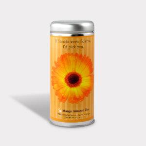 Customizable Healthy Friendship Flowers Tea Gift in an Easy-Open Silver Tall Tin with 12 Pyramid Tea Sachets