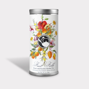 Fruity and Refreshing Fruit and Rooibos Herbal Tea Gift in an Easy-Open Silver Tall Tin with 12 Pyramid Tea Sachets