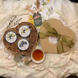 Three Mini Tins of Lemon Verbena, Tahitian Vanilla, and Blueberry Rooibos Chai Tea Heart Gift Set for Mother's and Valentine's Day