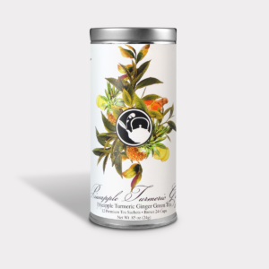 Refreshing and Healthy Pineapple Turmeric Ginger Green Tea Gift in an Easy-Open Silver Tall Tin with 12 Pyramid Tea Sachets
