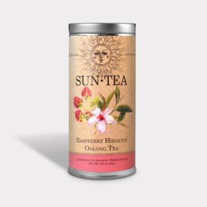 Healthy Iced Raspberry Hibiscus Oolong Sun Tea Gift in an Easy-Open Silver Tall Tin with 12 Pyramid Tea Sachets