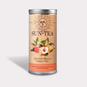 Healthy and Fruity Iced Apricot Peach Green Sun Tea Gift in an Easy-Open Silver Tall Tin with 12 Pyramid Tea Sachets