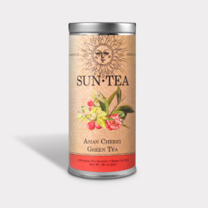 Sweet and Healthy Iced Asian Cherry Green Sun Tea Gift in an Easy-Open Silver Tall Tin with 12 Pyramid Tea Sachets