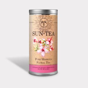 Healthy Iced Pure Hibiscus Flroal Sun Tea Gift in an Easy-Open Silver Tall Tin with 12 Pyramid Tea Sachets