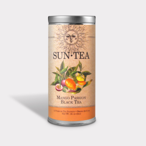 Fruity and Healthy Iced Mango Passion Black Sun Tea Gift in an Easy-Open Silver Tall Tin with 12 Pyramid Tea Sachets
