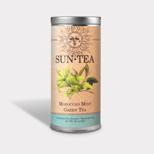 Light and Refreshing Iced Moroccan Mint Green Sun Tea Gift in an Easy-Open Silver Tall Tin with 12 Pyramid Tea Sachets